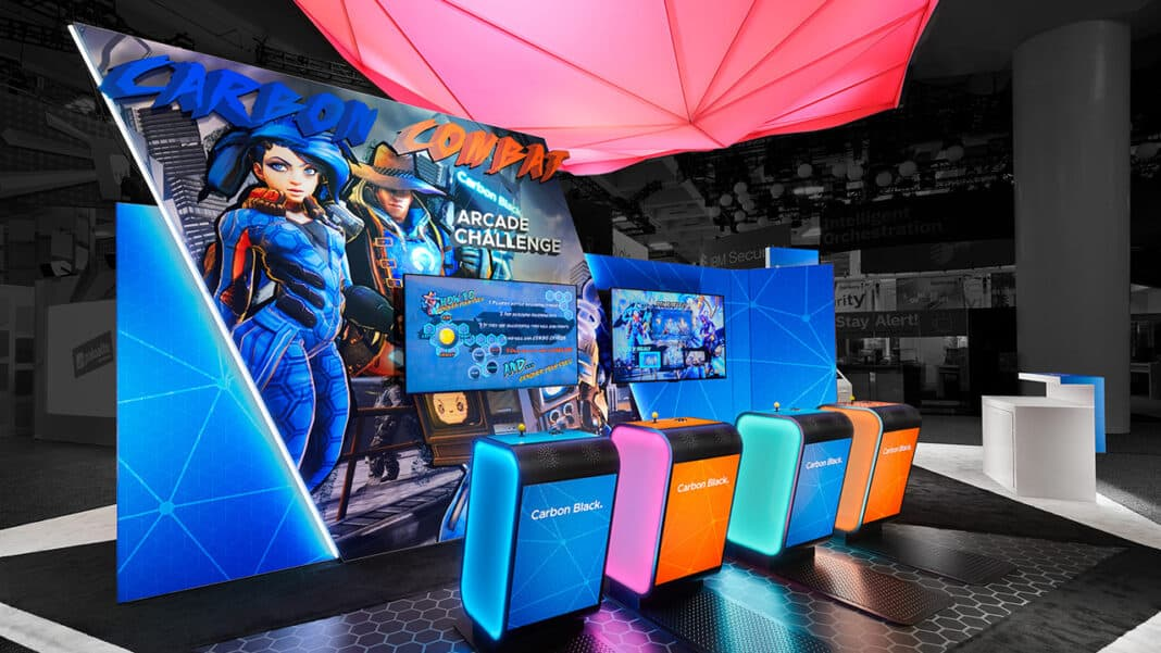 This exhibit for Carbon Black, a cybersecurity company, featured a branded arcade-brawler game.