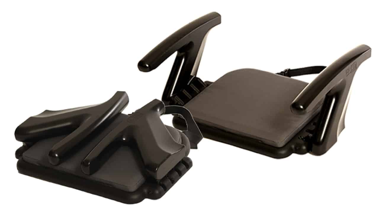 The EZ-Sit's arm rests fold in for transport or storage.