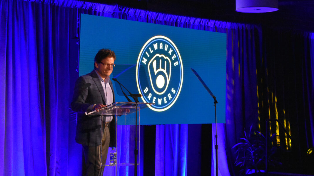 Brewers principal owner Mark Attanasio unveils a redesigned version of the iconic