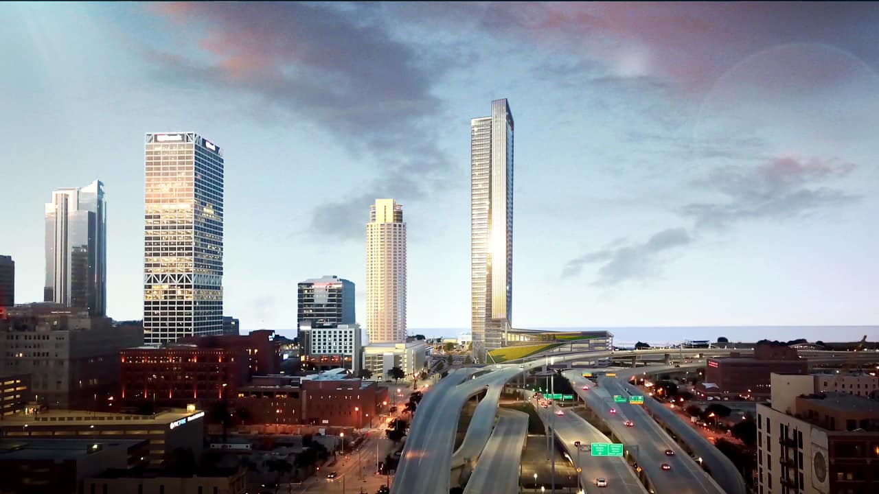 A conceptual rendering depicting a 50-story office building at the now-vacant Lakefront Gateway site and the long-delayed Couture project in downtown Milwaukee.