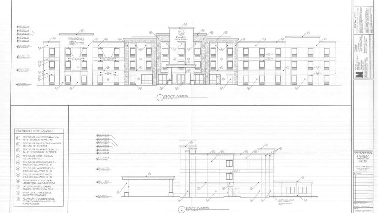 Drawings of the proposed 100-room Yorkville hotel. Crdit: Maust Architectural Services.
