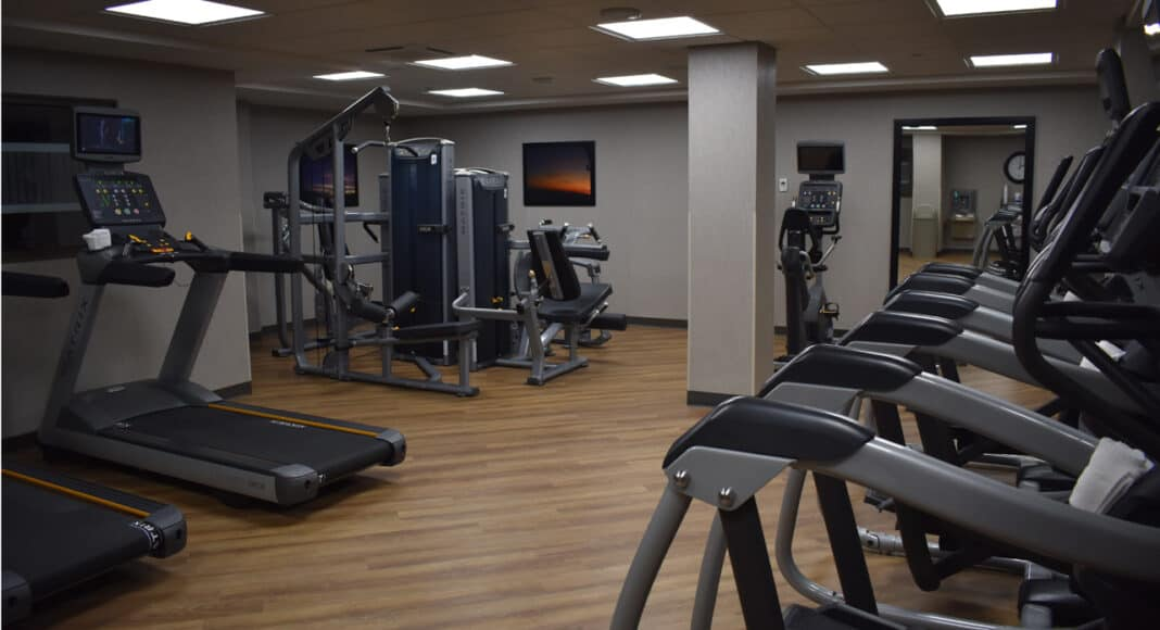 Basement-level fitness area of the Drury hotel.