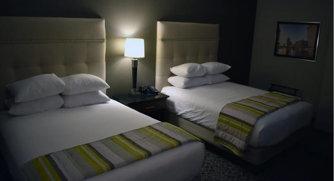 The double king beds found in one of the Drury hotel's 11 suites.