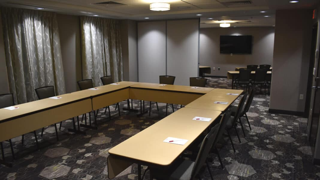 The Marquette Room, one of five conference rooms at the Drury hotel.