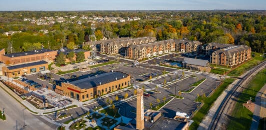Aerial view of the Spur 16 mixed-use development in Mequon.