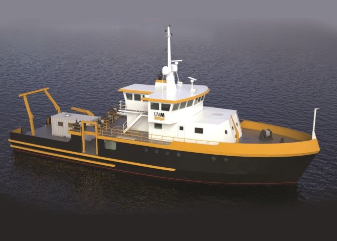 Rendering of the 'Maggi Sue' Great Lakes research vessel, which will replace UWM's existing vessel, Neeskay.