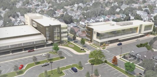 A Korb & Associates Architects rendering of the new St. Augustine Prep building (right), next to the existing school building.