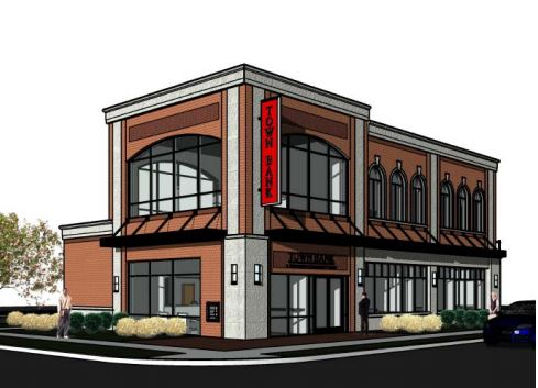 A rendering of the proposed Town Bank branch in Whitefish Bay.