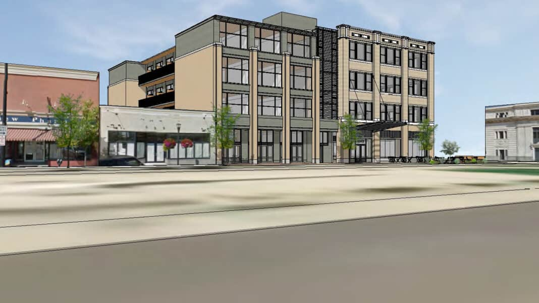Proposed downtown Racine hotel at former Zahn's department store.