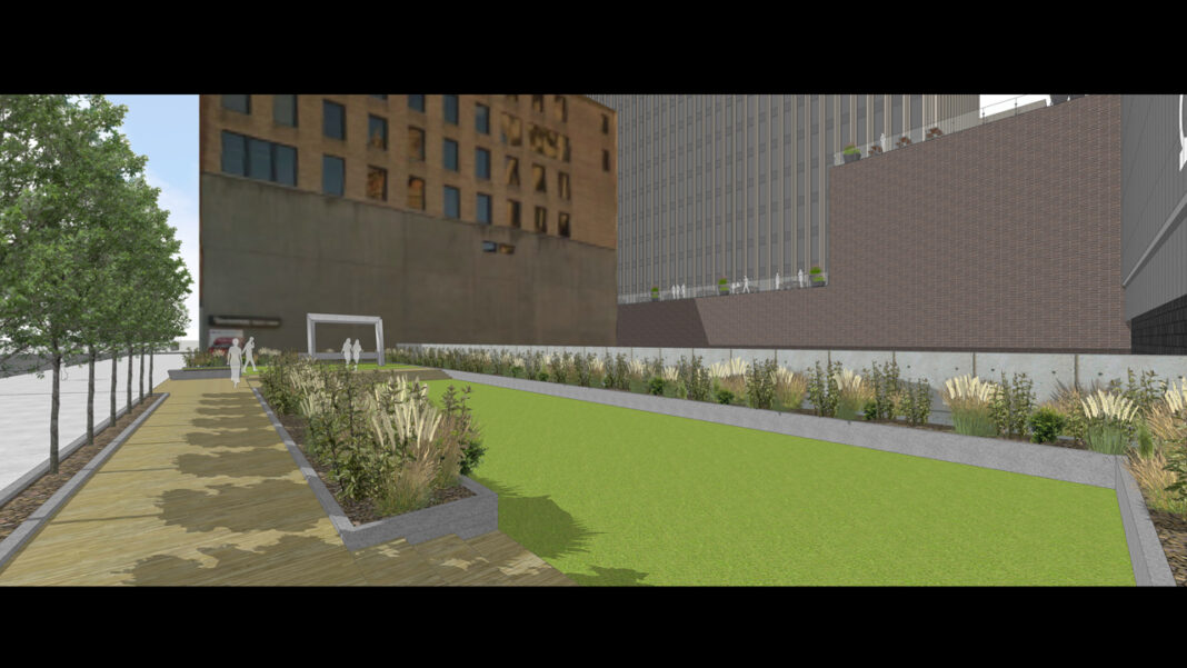 Pocket park behind 770 North. Rendering: Kahler Slater