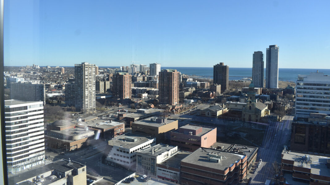 Views of downtown from an upper floor of the BMO Tower, taken during construction.