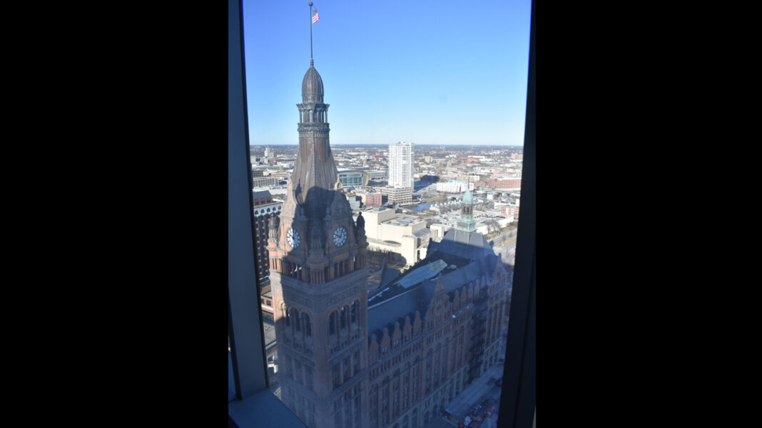 View of City Hall from the BMO Tower, taken during construction.