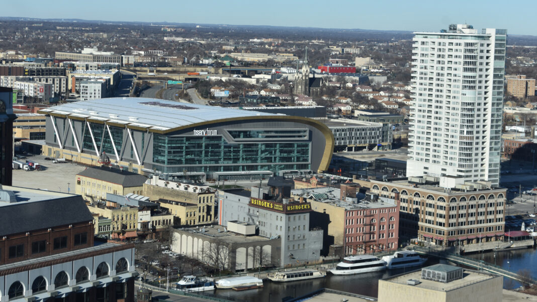 Views of Fiserv Forum and Old World Third Street from the top floor.